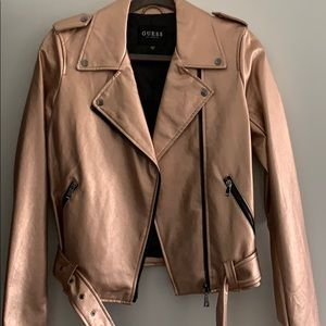 Guess Rose gold Vegan Leather Jacket Size Small